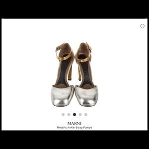 Marni Silver and Gold Leather Pumps